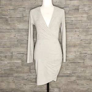 Room Service grey faux-suede dress